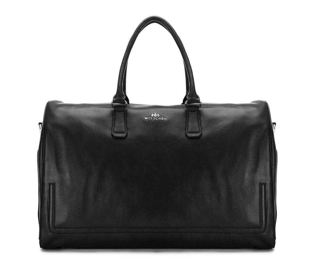 Дорожная сумкаДорожная сумка сделана из высококачественной натуральной кожи, создана для людей, которые ценят практичный дизайн.&#13;<br>&#13;<br>Внутри:&#13;<br>&#13;<br>    основное      отделение на молнии;&#13;<br>         отделение на молнии для электронного девайса: 23 см x 36 см;&#13;<br>    открытый      карман для мелких предметов;&#13;<br>    отделение для мобильного телефона;&#13;<br>    2 крепления для ручек.&#13;<br>&#13;<br>&#13;<br>Дополнительно:&#13;<br>&#13;<br>    на тыльной      стороне 2 отделения на молнии;&#13;<br>    по бокам два отделения, которые закрываются на кнопки;&#13;<br>    съемный плечевой ремень.<br><br>секс: унисекс<br>Цвет: черный<br>материал:: натуральная кожа<br>высота (см):: 31<br>ширина (см):: 49<br>глубина (см):: 22<br>длина ручки/ек (см):: 52