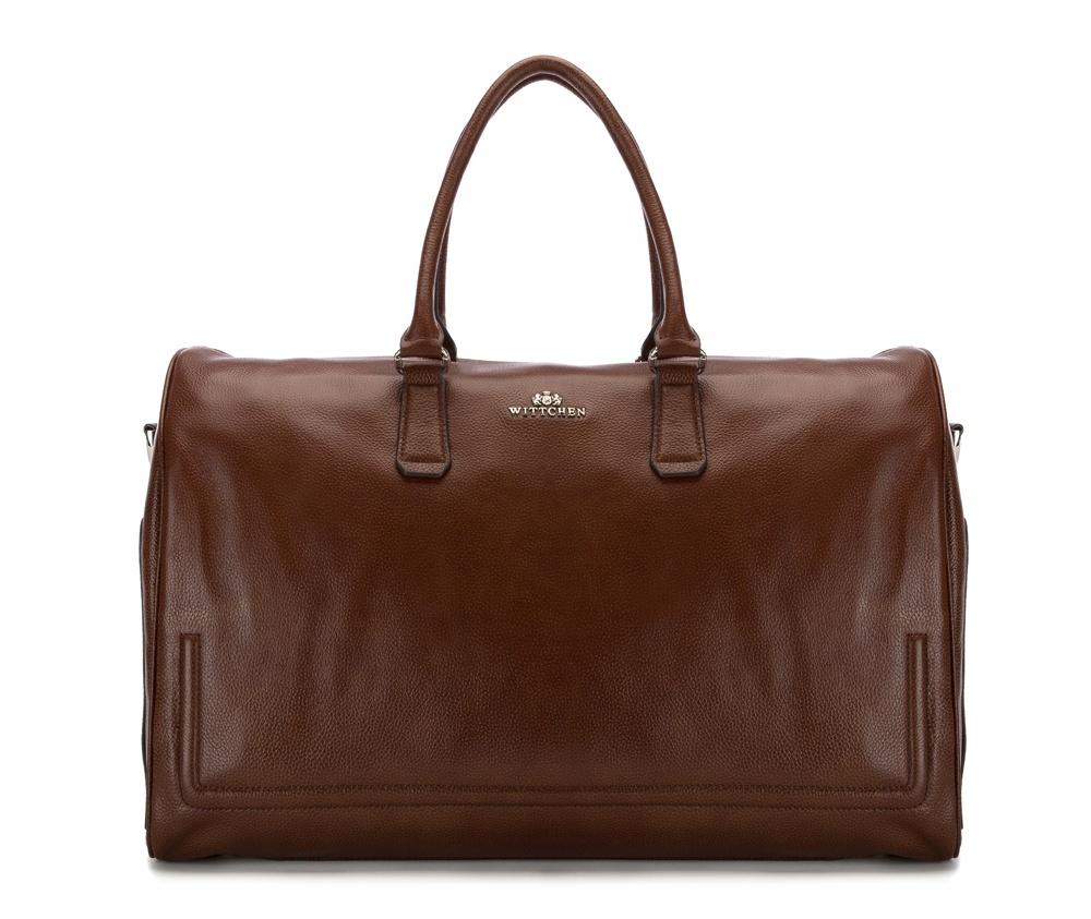 Дорожная сумкаДорожная сумка сделана из высококачественной натуральной кожи, создана для людей, которые ценят практичный дизайн.&#13;<br>&#13;<br>Внутри:&#13;<br>&#13;<br>    основное      отделение на молнии;&#13;<br>         отделение на молнии для электронного девайса: 23 см x 36 см;&#13;<br>    открытый      карман для мелких предметов;&#13;<br>    отделение для мобильного телефона;&#13;<br>    2 крепления для ручек.&#13;<br>&#13;<br>&#13;<br>Дополнительно:&#13;<br>&#13;<br>    на тыльной      стороне 2 отделения на молнии;&#13;<br>    по бокам два отделения, которые закрываются на кнопки;&#13;<br>    съемный плечевой ремень.<br><br>секс: унисекс<br>Цвет: коричневый<br>материал:: натуральная кожа<br>высота (см):: 31<br>ширина (см):: 49<br>глубина (см):: 22<br>длина ручки/ек (см):: 52
