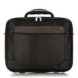 Torba na laptopa, czarno - brązowy, 86-3P-109-1, Zdjęcie 1