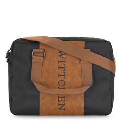 Torba na laptopa, czarno - brązowy, 86-3P-204-15, Zdjęcie 1