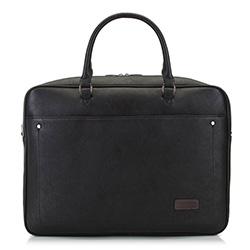 Męska torba na laptopa duża z nitami, czarny, 91-3P-804-1, Zdjęcie 1