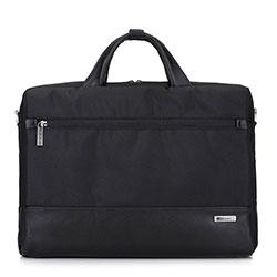 Torba na laptopa ze skórzanymi wstawkami, czarny, 93-3U-903-1, Zdjęcie 1