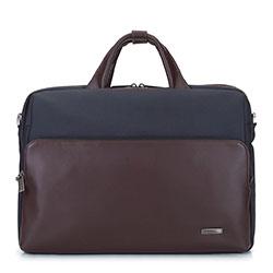 """Męska torba na laptopa 15,6"""" ze skóry i tkaniny, granatowo - brązowy, 93-3U-905-17, Zdjęcie 1"""