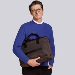"""Torba na laptopa 17"""" z paskiem z przodu, brązowy, 91-3P-701-4, Zdjęcie 1"""