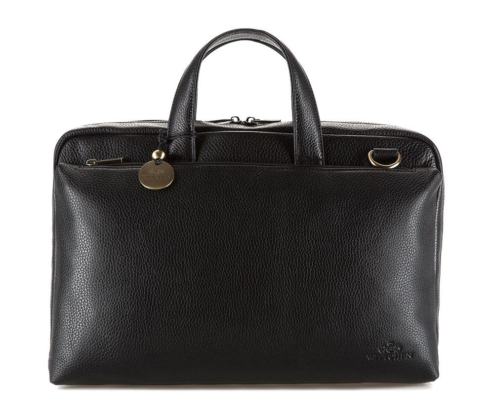 Сумка для ноутбукаПортфель из коллекции  City Leather. Сделан из выделанной особым способом телячьей кожи.&#13;<br>&#13;<br>Особенности модели:&#13;<br>&#13;<br>    основное отделение на молнии&#13;<br>    отделение для ноутбука: 22 см x 39 см&#13;<br>    открытый карман&#13;<br>    отделение на молнии&#13;<br>    держатель для мобильного телефона&#13;<br>    2 слота для кредитных карт&#13;<br>    2 крепления для ручек.&#13;<br>&#13;<br>Дополнительно: &#13;<br>&#13;<br>    на лицевой стороне отделение на молнии&#13;<br>    на обратной стороне отделение на молнии&#13;<br>    ремень для крепления к ручке чемодана&#13;<br>    съемный плечевой ремень с регулируемой длиной<br><br>секс: унисекс<br>Цвет: черный<br>материал:: натуральная кожа<br>длина плечевого ремня (cм):: 75 - 140<br>высота (см):: 27<br>ширина (см):: 39<br>глубина (см):: 10