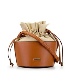 Torebka bucket bag z ekoskóry i płótna, Brązowy, 92-4Y-309-5, Zdjęcie 1