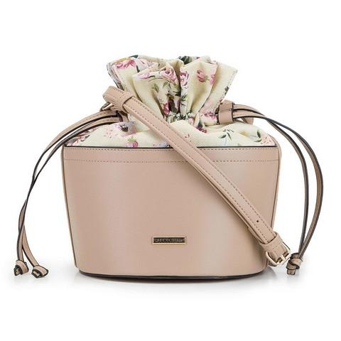 Torebka bucket bag z ekoskóry i płótna, beżowy, 92-4Y-309-5, Zdjęcie 1