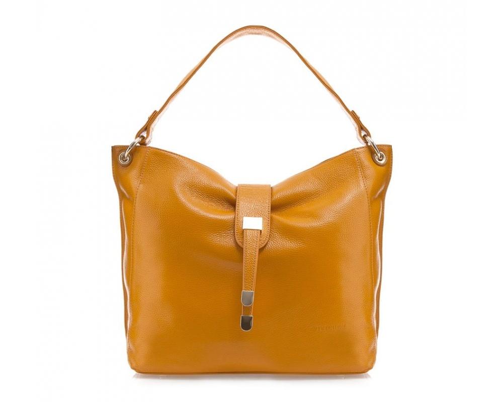 Женская сумкаСумки из коллекции Elegance. Основное отделение закрывается на молнию. Внутри два кармана на молнии и три  открытых  кармана для мелких предметов. С тыльной стороны карман на молнии. Дно защищено металлическими ножками.<br><br>секс: женщина<br>Цвет: желтый<br>материал:: Натуральная кожа<br>тип:: в руке<br>высота (см):: 31<br>ширина (см):: 30<br>глубина (см):: 13<br>вмещает формат А4: нет<br>общая высота (см):: 48<br>вес (кг):: 0,4