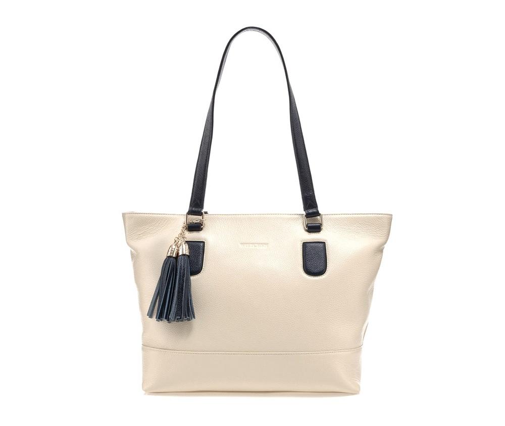 Женская сумкаСумки из коллекции Elegance. Основное отделение закрывается на молнию и разделено карманом на молнии. Внутри карман на молнии, открытый карман для мелких предметов и отделение для мобильного телефона. С тыльной стороны карман на молнии.<br><br>секс: женщина<br>Цвет: бежевый<br>материал:: Натуральная кожа<br>тип:: в руке<br>высота (см):: 30<br>ширина (см):: 34<br>глубина (см):: 14<br>вмещает формат А4: да<br>общая высота (см):: 57<br>вес (кг):: 0,5