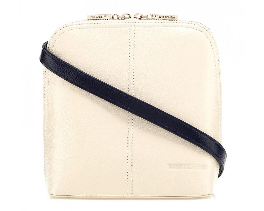 Женская сумкаСумки из коллекции Elegance. Основное отделение закрывается на молнию и разделено карманом на молнии. Внутри карман на молнии и открытый  карман для мелких предметов. Дополнительно съемный, регулируемый ремень.<br><br>секс: женщина<br>Цвет: бежевый<br>материал:: Натуральная кожа<br>тип:: через плечо<br>высота (см):: 20,5<br>ширина (см):: 18,5<br>глубина (см):: 9<br>вмещает формат А4: нет<br>вес (кг):: 0,4