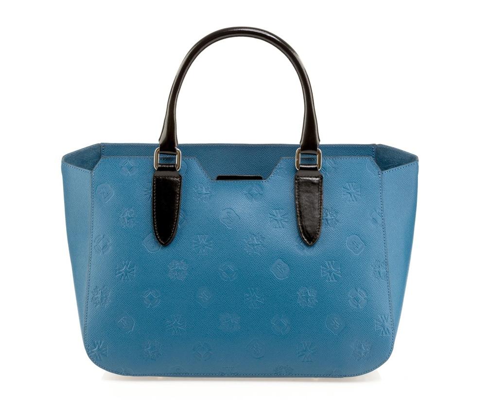 Сумка кожанаяСумка из коллекции Elegance. Основное отделение на молнии. Внутри карман на молнии. Дно сумки защищено металлическими ножками. Дополнительно съемный, регулируемый плечевой ремень.<br><br>секс: женщина<br>Цвет: голубой<br>материал:: Натуральная кожа<br>тип:: через плечо<br>высота (см):: 25<br>ширина (см):: 35 - 43<br>глубина (см):: 12<br>вмещает формат А4: да<br>общая высота (см):: 40<br>вес (кг):: 0,7
