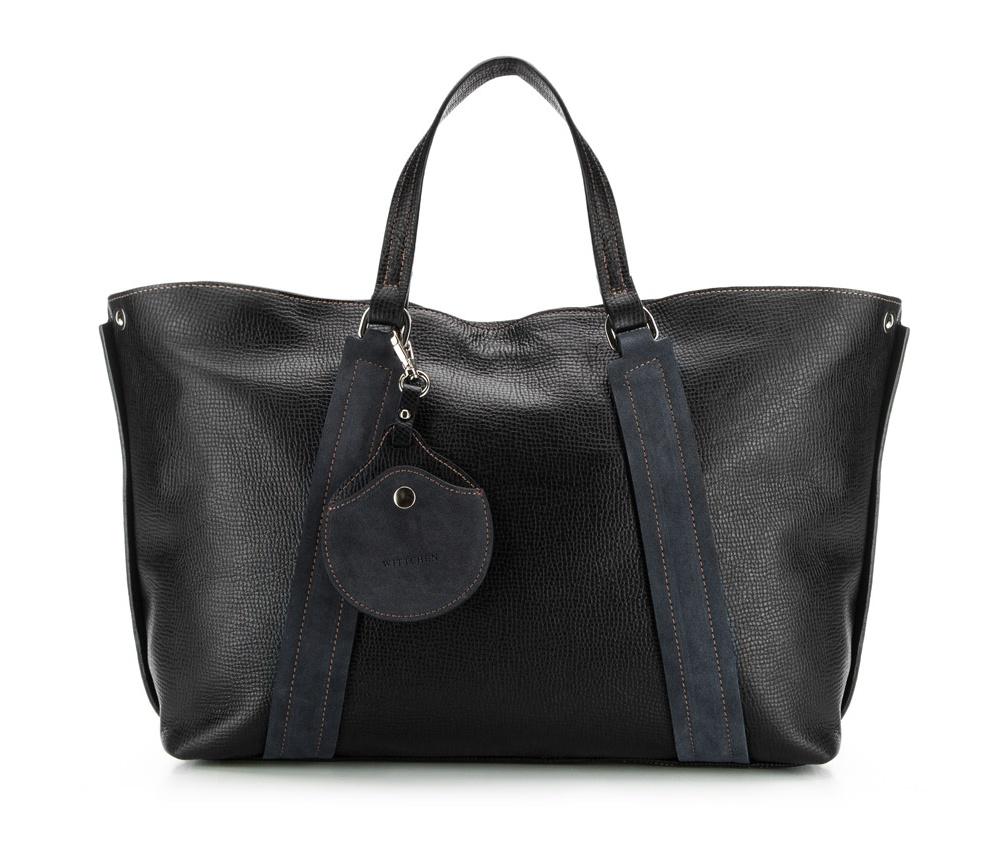 Сумка кожанаяСумка из коллекции Elegance. Основное отделение на молнии. Внутри карман на молнии и открытый карман для мелких предметов. Дополнительно съемный плечевой ремень.<br><br>секс: женщина<br>Цвет: черный<br>материал:: Натуральная кожа<br>тип:: через плечо<br>высота (см):: 28<br>ширина (см):: 38 - 50<br>глубина (см):: 12<br>вмещает формат А4: да<br>общая высота (см):: 44<br>вес (кг):: 1