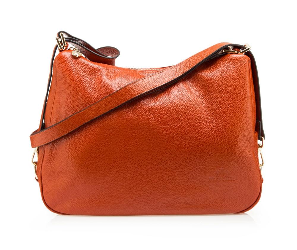 Сумка кожанаяСумка кожаная<br><br>секс: женщина<br>Цвет: оранжевый<br>материал:: Натуральная кожа<br>тип:: через плечо<br>высота (см):: 27<br>ширина (см):: 30 - 40<br>глубина (см):: 12<br>вмещает формат А4: да<br>вес (кг):: 0,7