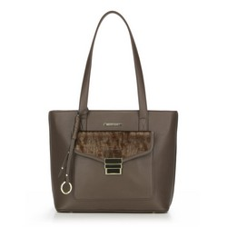 Shopper bag, dark brown, 87-4Y-419-4, Photo 1
