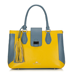 Torebka damska, żółto - niebieski, 88-4E-363-Y, Zdjęcie 1