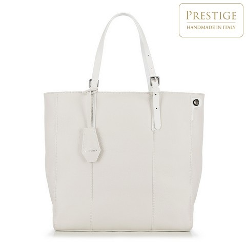 Torebka shopperka ze skóry klasyczna, biały, 90-4E-001-0, Zdjęcie 1