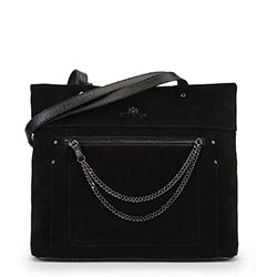 Torebka shopperka zamszowa  z łańcuszkami, czarny, 90-4E-359-1, Zdjęcie 1