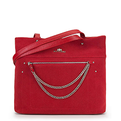 Torebka shopperka zamszowa  z łańcuszkami, czerwony, 90-4E-359-3, Zdjęcie 1