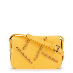 Damska listonoszka ze wszytymi łańcuchami, żółty, 90-4Y-356-Y, Zdjęcie 1