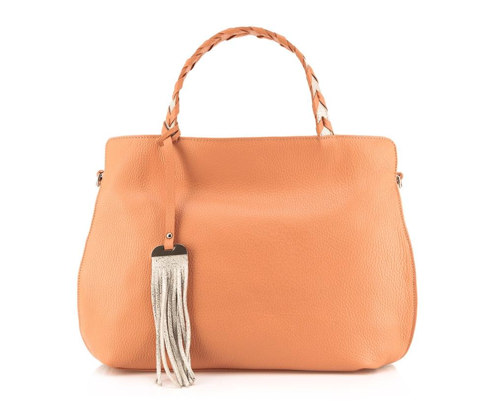 Сумка кожанаяОсновное отделение надежно закрывается на молнию. Внутри карман с застежкой-молнией и открытый карман для мелких предметов. Дополнительно имеется съемный регулируемый ремень.<br><br>секс: женщина<br>Цвет: оранжевый<br>материал:: Натуральная кожа<br>описание материала :: матовый<br>тип:: через плечо<br>высота (см):: 29<br>ширина (см):: 40<br>глубина (см):: 9<br>вмещает формат А4: нет<br>общая высота (см):: 40<br>вес (кг):: 0,3
