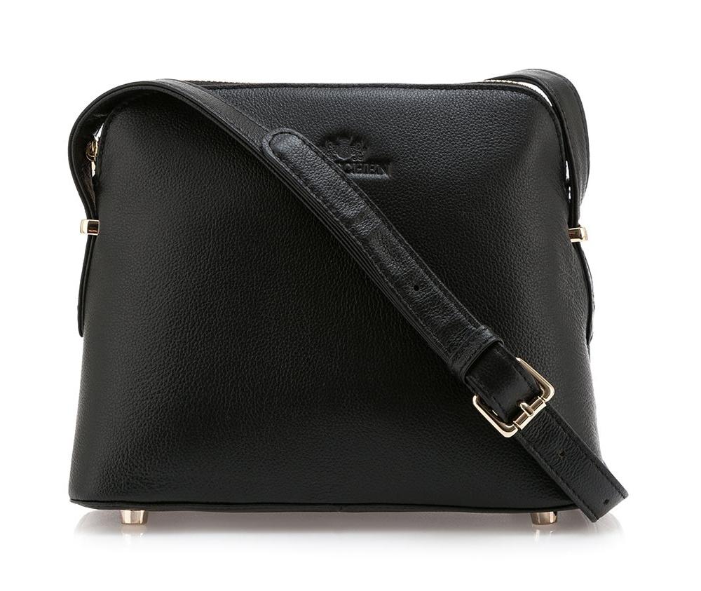 Сумка ELEGANCEОсновное отделение надежно закрывается на молнию. Внутри карман с застежкой-молнией и открытый карман для мелких предметов. Передний карман закрывается магнитным замком. Низ сумки защищен металлическими ножками. Дополнительно имеется съемный регулируемый ремень.<br><br>секс: женщина<br>Цвет: черный<br>материал:: Натуральная кожа<br>описание материала :: матовый<br>тип:: через плечо<br>высота (см):: 18<br>ширина (см):: 23<br>глубина (см):: 11<br>вмещает формат А4: нет<br>вес (кг):: 0,2