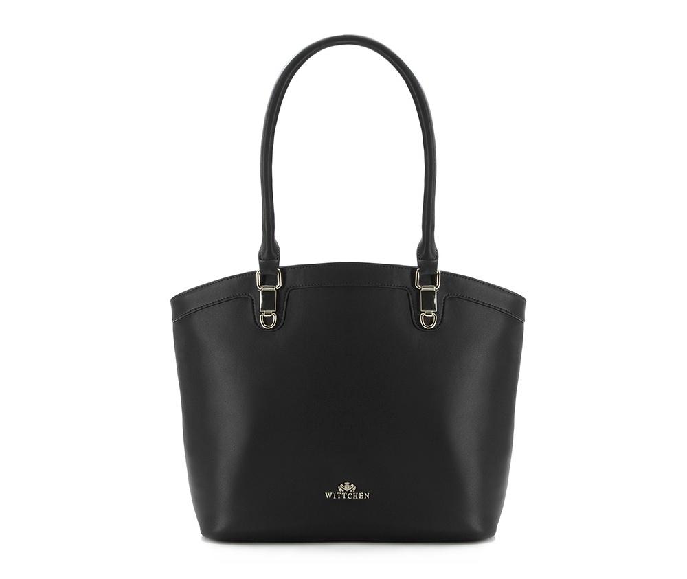 Женская сумкаЖенская сумка из коллекции Elegance.  &#13;<br>Основной отдел застегивается на молнию, разделен карманом на молнии.  Внутри  отделение на молнии, открытый карман для мелких предметов и отделение для мобильного телефона.С тыльной стороны карман на молнии.<br><br>секс: женщина<br>Цвет: черный<br>материал:: Натуральная кожа<br>высота (см):: 29<br>ширина (см):: 30 - 43<br>глубина (см):: 13.5<br>общая высота (см):: 53<br>длина ручки/ек (см):: 59