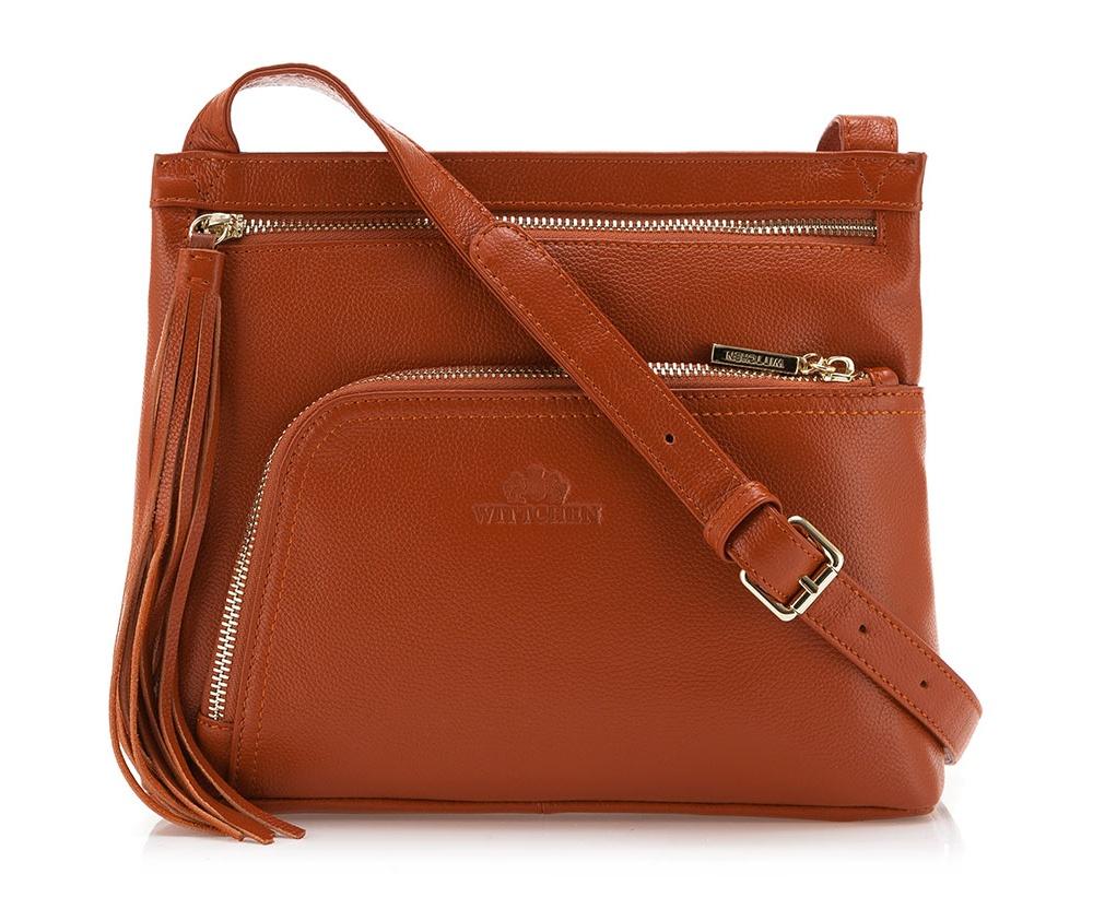 Сумка ELEGANCEОсновное отделение надежно закрывается на молнию. Внутри карман с застежкой-молнией и открытый карман для мелких предметов. Передний карман закрывается магнитным замком. Низ сумки защищен металлическими ножками. Дополнительно имеется съемный регулируемый ремень.<br><br>секс: женщина<br>Цвет: коричневый<br>материал:: Натуральная кожа<br>описание материала :: матовый<br>тип:: через плечо<br>высота (см):: 21<br>ширина (см):: 26<br>глубина (см):: 6<br>вмещает формат А4: нет<br>вес (кг):: 0,2