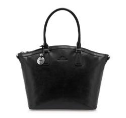 Torebka shopperka skórzana elegancka, czarny, 35-4-011-1, Zdjęcie 1