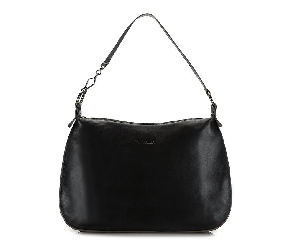 Женская сумкаЖенская сумка из коллекции Elegance Лето 2015Основное отделение сумки закрывается на молнию. Внутри карман на молнии и два открытых кармана для мелких предметов.<br><br>секс: женщина<br>Цвет: черный<br>материал:: натуральная кожа<br>высота (см):: 27<br>ширина (см):: 33 - 39<br>глубина (см):: 11