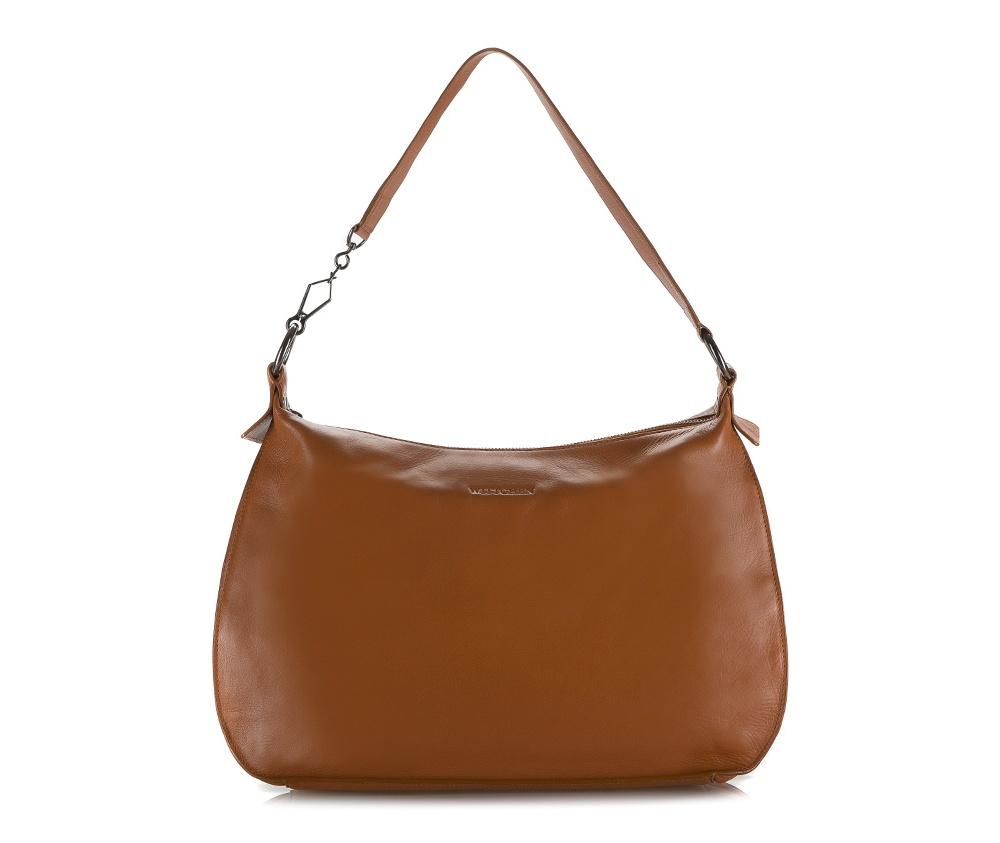 Женская сумкаЖенская сумка из коллекции Elegance Лето 2015Основное отделение сумки закрывается на молнию. Внутри карман на молнии и два открытых кармана для мелких предметов.<br><br>секс: женщина<br>Цвет: коричневый<br>материал:: натуральная кожа<br>высота (см):: 27<br>ширина (см):: 33 - 39<br>глубина (см):: 11