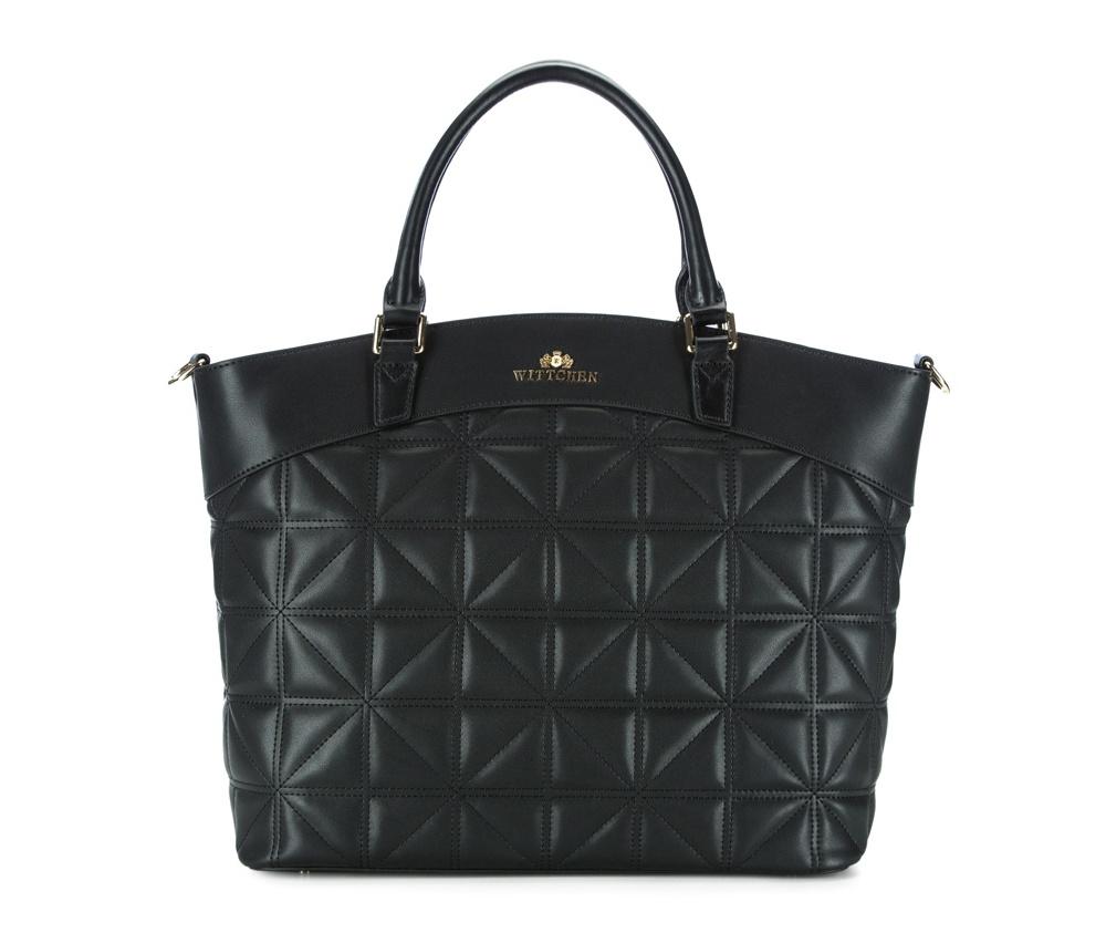 Женская сумкаЖенская сумка из коллекции Elegance.&#13;<br>Основной отдел застегивается на молнию. Внутри 2 кармана на молнии, открытый карман для мелких предметов и отделение для мобильного телефона. Дно сумки защищено металлическими ножками.<br><br>секс: женщина<br>Цвет: черный<br>материал:: Натуральная кожа<br>длина плечевого ремня (cм):: 111 - 123<br>высота (см):: 31<br>ширина (см):: 33<br>глубина (см):: 17<br>иное :: помепстит формат А4<br>общая высота (см):: 46<br>длина ручки/ек (см):: 41