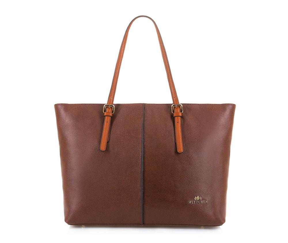 Женская сумкаЖенская сумка из коллекции Elegance. &#13;<br>Основной отдел  застегивается на молнию. Внутри 2 кармана на молнии и открытый карман  для мелких предметов. Возможность ругулирования длины ручек.<br><br>секс: женщина<br>Цвет: коричневый<br>материал:: Натуральная кожа<br>высота (см):: 30<br>ширина (см):: 36 - 47<br>глубина (см):: 15<br>общая высота (см):: 54<br>длина ручки/ек (см):: 48 - 61