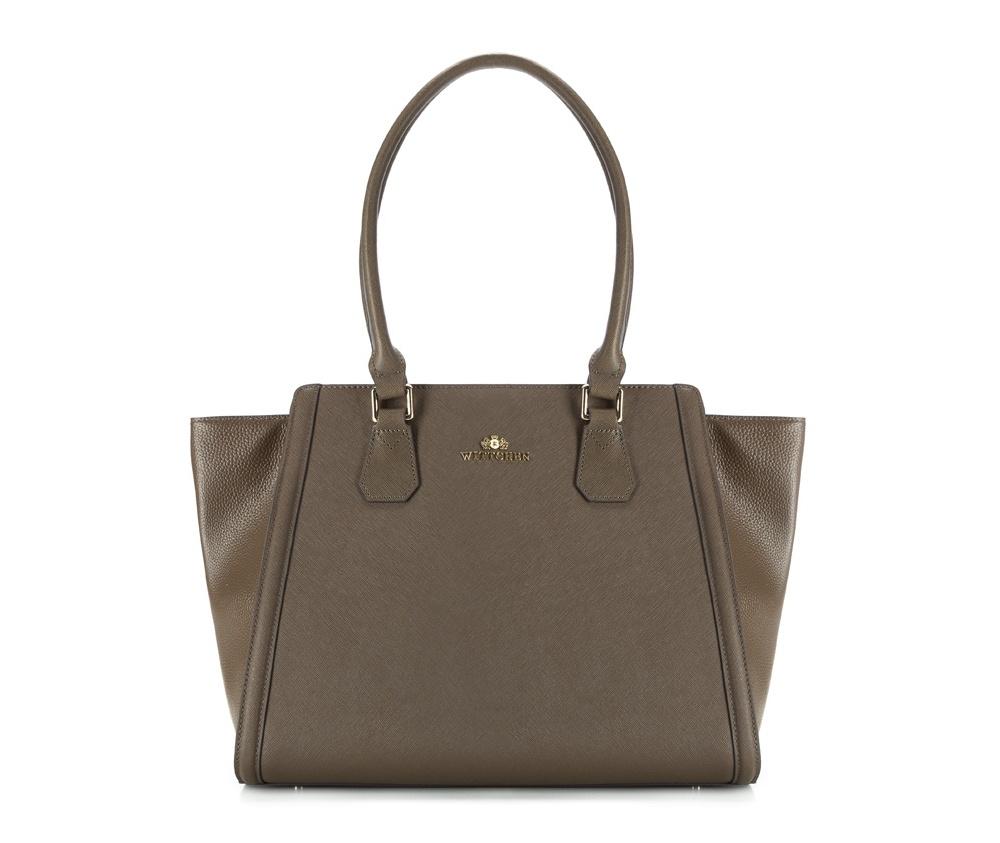 Женская сумкаЖенская сумка из коллекции Elegance. &#13;<br>Основной отдел  застегивается на молнию. Внутри 2 кармана на молнии,  открытый карман  для мелких предметов и отделение для мобильного  телефона.С тыльной  стороны карман на молнии. Дно сумки защищено  металлическими ножками.<br><br>секс: женщина<br>Цвет: зеленый<br>вмещает формат А4: поместтит формат А4<br>материал:: Натуральная кожа<br>высота (см):: 30<br>ширина (см):: 28 - 34<br>глубина (см):: 12<br>общая высота (см):: 53<br>длина ручки/ек (см):: 61
