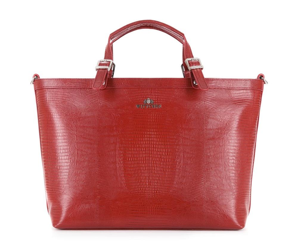 Кожаная сумка Wittchen 15-4-204-3J, красныйЖенская сумка из коллекции Lizard . Основное отделение на молнии. Внутри карман на молнии, открытый карман для мелких предметов и отделение для мобильного телефона. с тыльной стороны карман на молнии. Дополнительно съемный, регулируемый плечевой ремень.<br><br>секс: женщина<br>материал:: Натуральная кожа<br>описание материала :: матовый<br>тип:: через плечо<br>высота (см):: 28<br>ширина (см):: 34 - 46<br>глубина (см):: 12<br>вмещает формат А4: да<br>общая высота (см):: 40<br>вес (кг):: 0,6