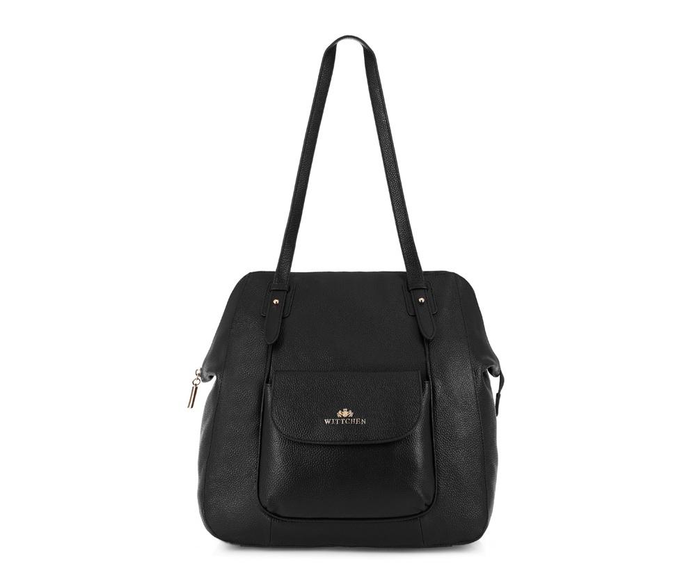 Женская сумкаЖенская сумка из коллекции Elegance. &#13;<br>Основной отдел застегивается на молнию. Внутри 2 отделения на молнии, открытый карман для мелких предметов и отделение для мобильного телефона. С лицевой стороны карман на магнитной застежке. С тыльной стороны карман на молнии.<br><br>секс: женщина<br>Цвет: черный<br>вмещает формат А4: поместит формат А4<br>материал:: Натуральная кожа<br>высота (см):: 35<br>ширина (см):: 26 - 32<br>глубина (см):: 16<br>общая высота (см):: 61<br>длина ручки/ек (см):: 64