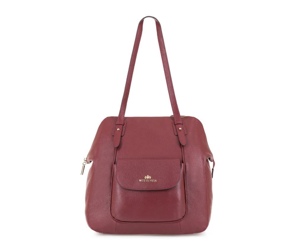 Женская сумкаЖенская сумка из коллекции Elegance. &#13;<br>Основной отдел  застегивается на молнию. Внутри 2 отделения на молнии, открытый  карман для мелких предметов и отделение для мобильного телефона. С  лицевой стороны карман на магнитной застежке. С тыльной стороны карман  на молнии.<br><br>секс: женщина<br>Цвет: красный<br>материал:: Натуральная кожа<br>высота (см):: 35<br>ширина (см):: 26 - 32<br>глубина (см):: 16<br>иное :: поместит формат А4<br>общая высота (см):: 61<br>длина ручки/ек (см):: 64