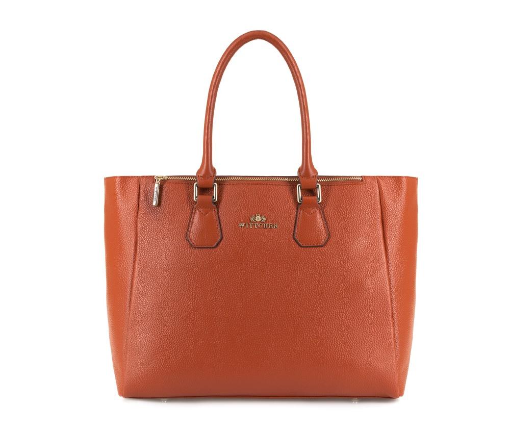 Женская сумкаЖенская сумка из коллекции Elegance.&#13;<br>Основной  отдел застегивается на молнию. Внутри 2 кармана на молнии, открытый  карман для мелких предметов и отделение для мобильного телефона. С  тыльной стороны карман на молнии. Дно сумки защищено металлическими  ножками.<br><br>секс: женщина<br>Цвет: коричневый<br>материал:: Натуральная кожа<br>длина плечевого ремня (cм):: 111 - 123<br>высота (см):: 28<br>ширина (см):: 33 - 43<br>глубина (см):: 12<br>общая высота (см):: 42<br>длина ручки/ек (см):: 43