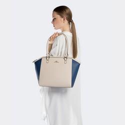 Tote bag, beige-navy blue, 90-4E-604-0N, Photo 1