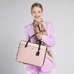Damska torba na laptopa z zawieszką, czarno - różowy, 90-4Y-616-X1, Zdjęcie 1