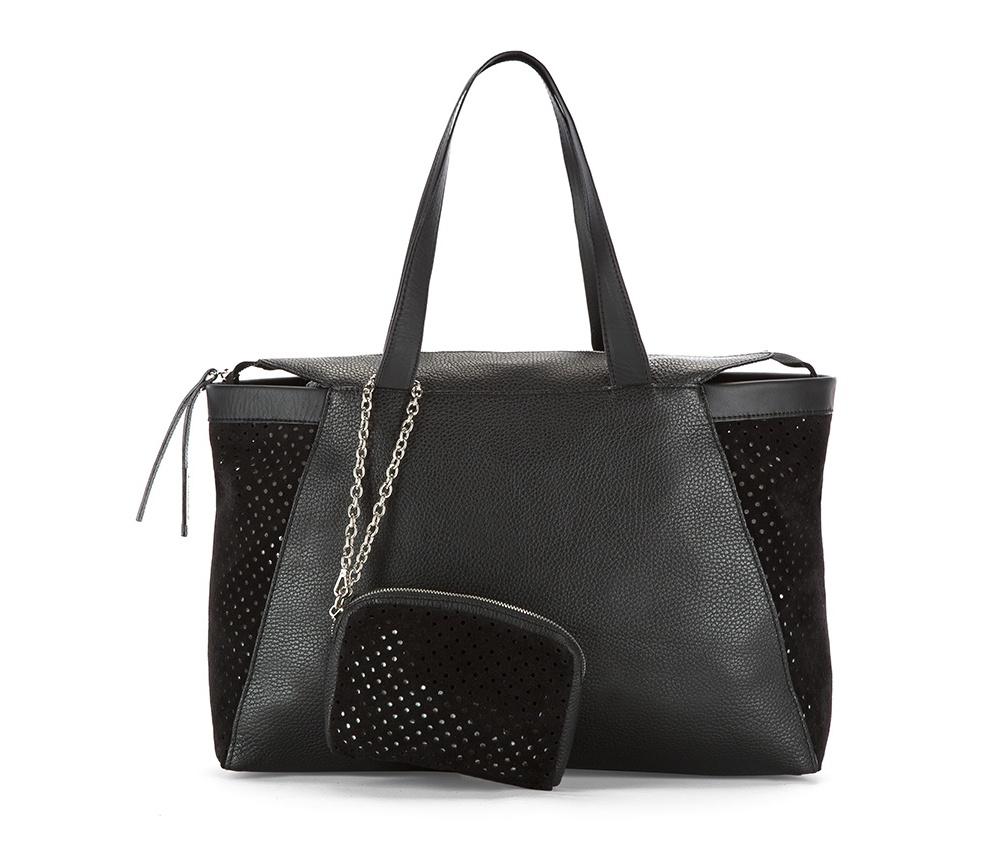 Женская сумкаЖенская сумка из коллекции Elegance 2016&#13;<br>Основное  отделение на молнии. &#13;<br>Дополнительно съемная косметичка размером 13 см x 17 см x 2 см.<br><br>секс: женщина<br>Цвет: черный<br>материал:: натуральная кожа<br>высота (см):: 26<br>ширина (см):: 39 - 47<br>глубина (см):: 9<br>общая высота (см):: 49