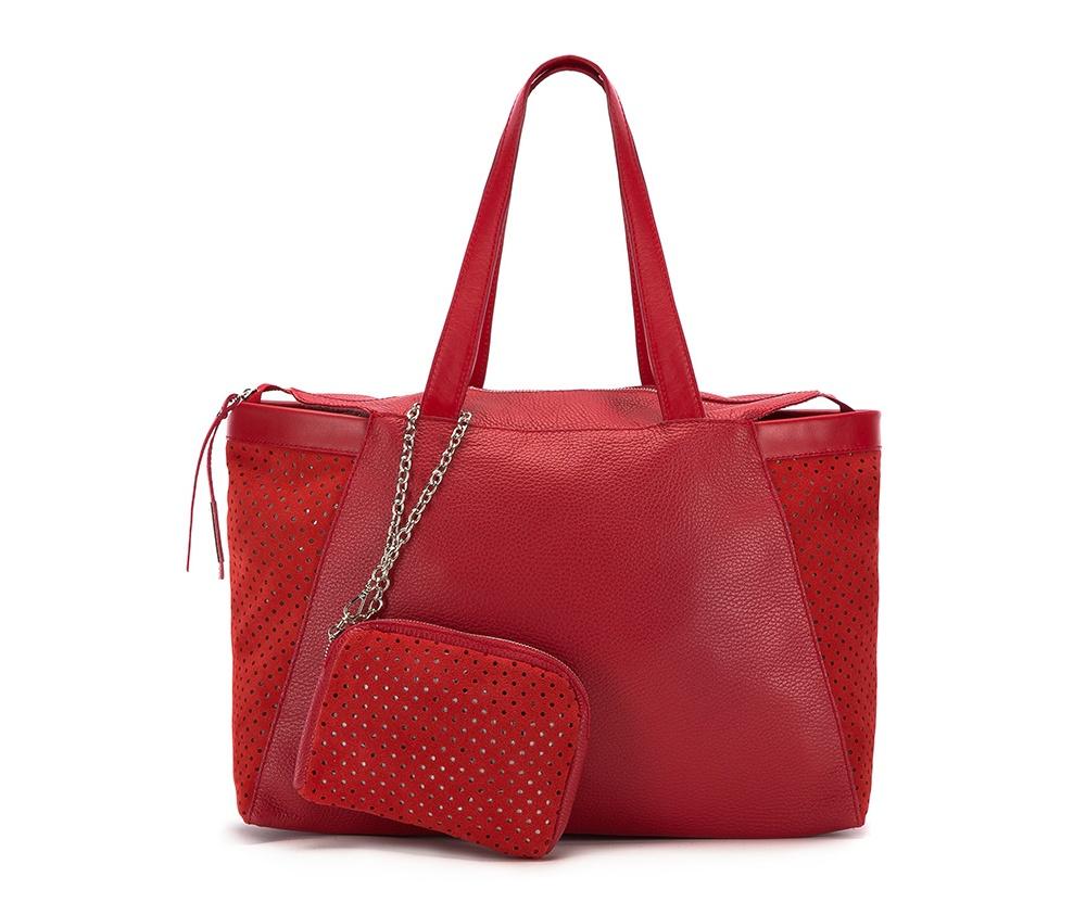 Женская сумкаЖенская сумка из коллекции Elegance 2016&#13;<br>Основное  отделение на молнии. &#13;<br>Дополнительно съемная косметичка размером 13 см x 17 см x 2 см.<br><br>секс: женщина<br>материал:: натуральная кожа<br>высота (см):: 26<br>ширина (см):: 39 - 47<br>глубина (см):: 9<br>общая высота (см):: 49