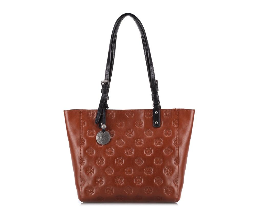 Женская сумкаЖенская сумка из коллекции Signature. Основное отделение на молнии, внутри карман на молнии и два отделения для мелких предметов.<br><br>секс: женщина<br>Цвет: коричневый<br>материал:: натуральная кожа<br>высота (см):: 23<br>ширина (см):: 24 - 33<br>глубина (см):: 10<br>общая высота (см):: 45