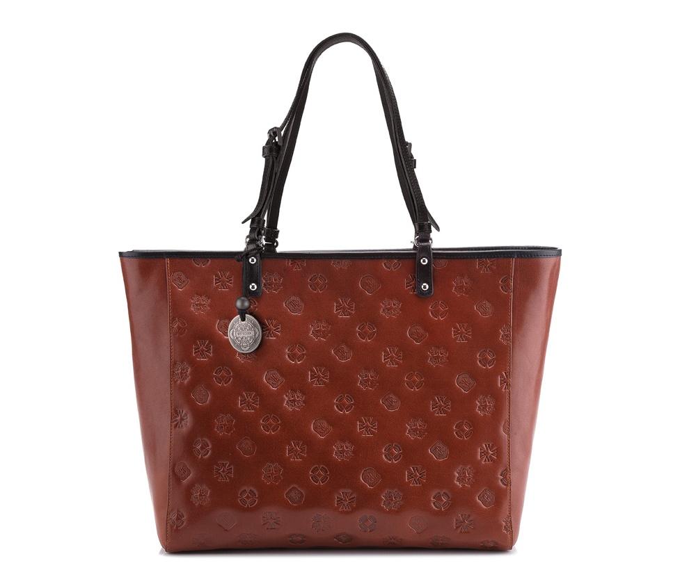 Женская сумкаЖенская сумка из коллекции Signature. Основное отделение на молнии, внутри карман на молнии и два отделения для мелких предметов.<br><br>секс: женщина<br>Цвет: коричневый<br>материал:: натуральная кожа<br>высота (см):: 29<br>ширина (см):: 34<br>глубина (см):: 12