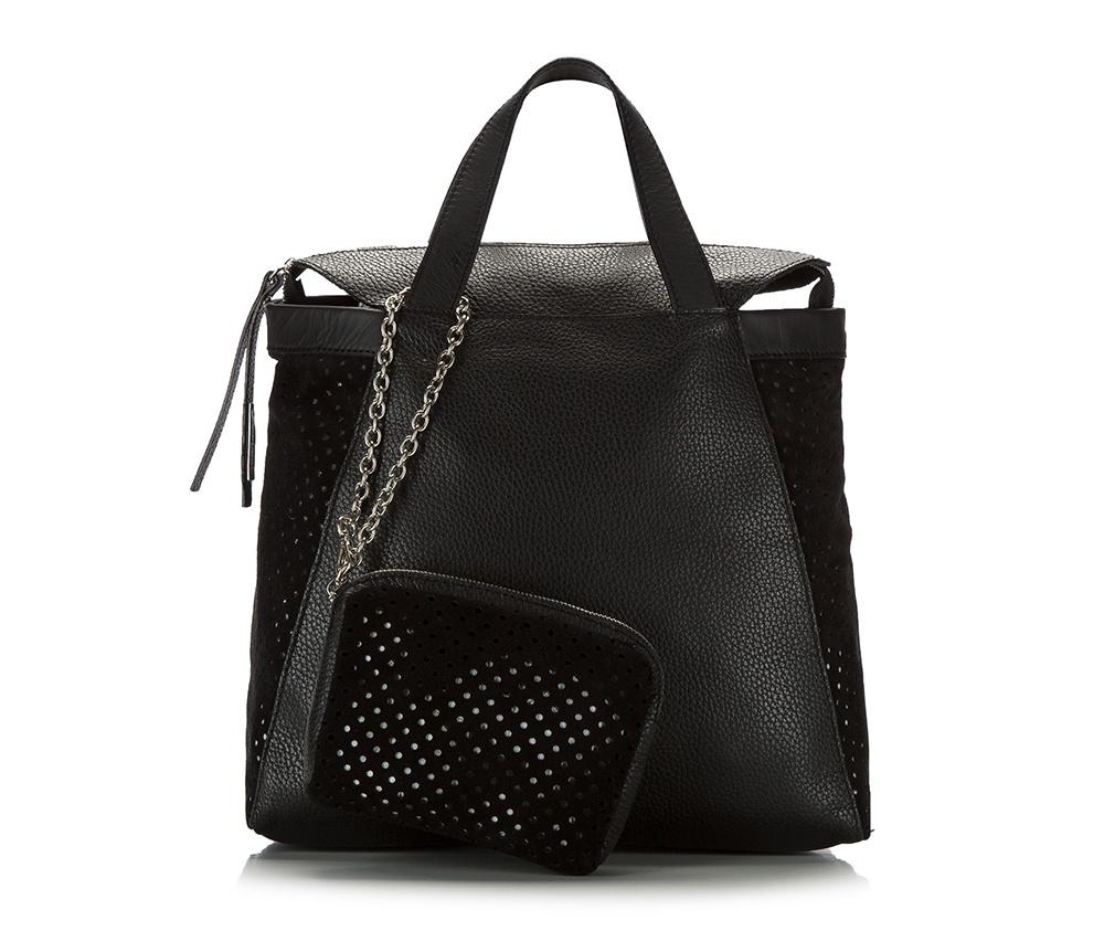 Женская сумкаЖенская сумка из коллекции Elegance 2016&#13;<br>Основное  отделение на молнии. &#13;<br>Дополнительно съемная косметичка размером 12 см x 16 см x 3 см. Съемный плечевой ремень.<br><br>секс: женщина<br>Цвет: черный<br>материал:: натуральная кожа<br>высота (см):: 27<br>ширина (см):: 32<br>глубина (см):: 12<br>общая высота (см):: 40
