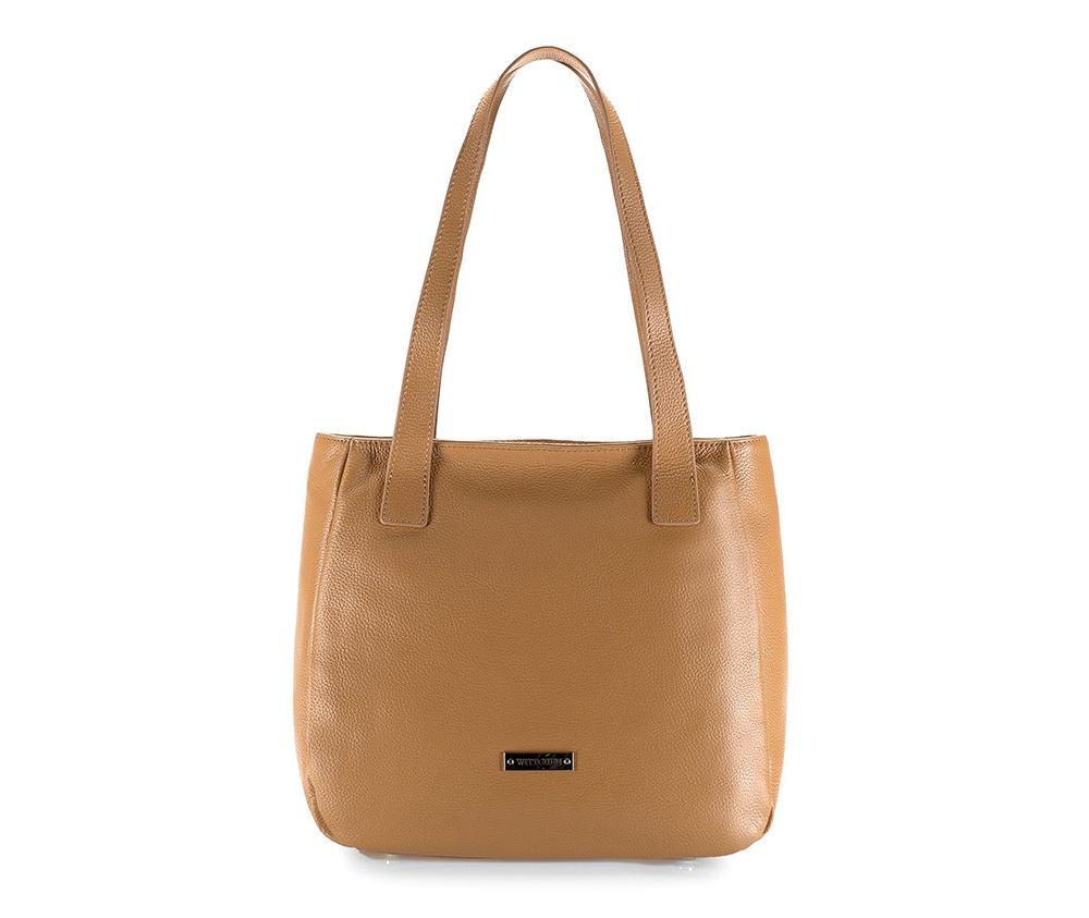 Женская сумкаЖенская сумка из коллекции Elegance Осень / Зима 2015 - 2016Основное отделение на молнии.Внутри отделения на молнии и для мобильного телефона, открытый карман для мелких предметов. На обратной стороне отделение на молнии.  Дно сумки защищено металлическими ножками.<br><br>секс: женщина<br>Цвет: коричневый<br>материал:: натуральная кожа<br>высота (см):: 28<br>ширина (см):: 34 - 40<br>глубина (см):: 11.5<br>общая высота (см):: 55