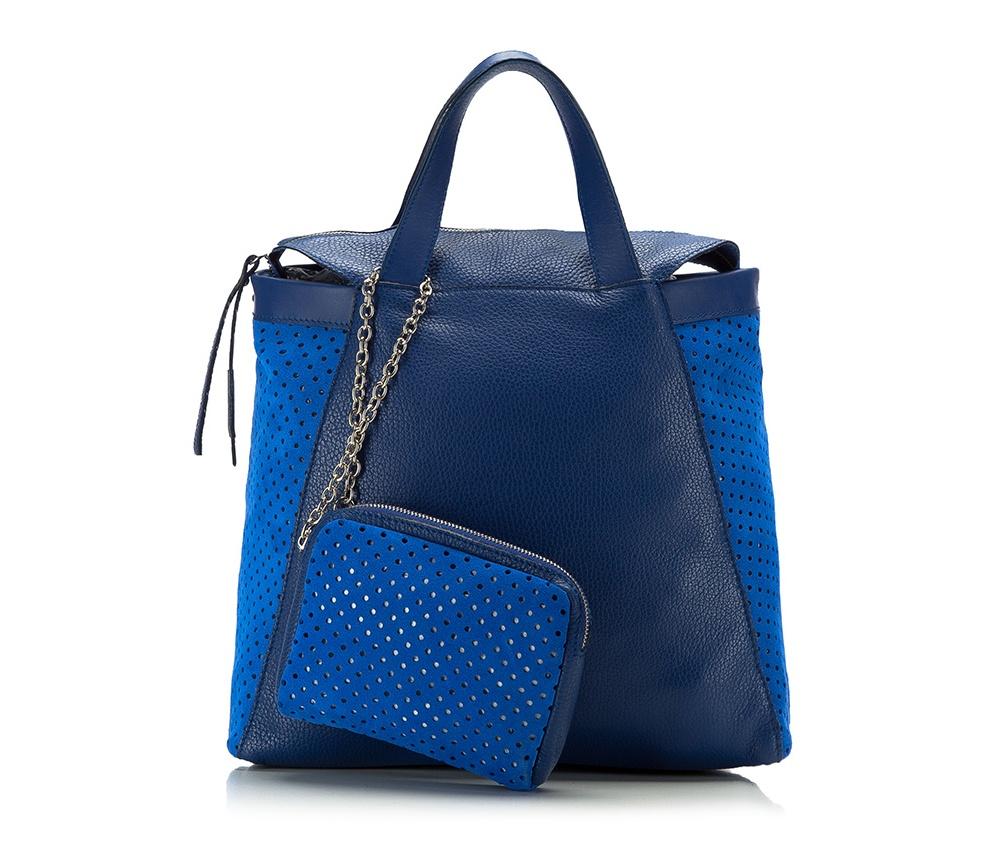Женская сумкаЖенская сумка из коллекции Elegance 2016&#13;<br>Основное  отделение на молнии. &#13;<br>Дополнительно съемная косметичка размером 12 см x 16 см x 3 см. Съемный плечевой ремень.<br><br>секс: женщина<br>Цвет: синий<br>материал:: натуральная кожа<br>высота (см):: 27<br>ширина (см):: 32<br>глубина (см):: 12<br>общая высота (см):: 40