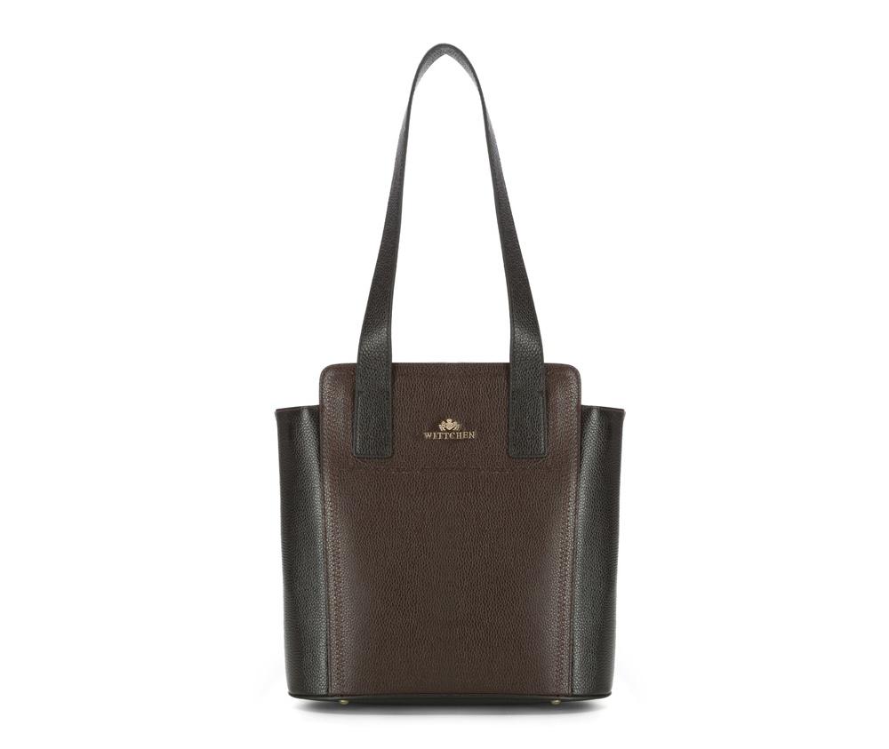 Женская сумкаЖенская сумка из коллекции Elegance&#13;<br>Основной отдел застегивается на молнию. Внутри карман на молнии, открытый карман для мелких предметов и отделение для мобильного телефона. С тыльной стороны карман на молнии. Дно сумки защищено металлическими  ножками.<br><br>секс: женщина<br>Цвет: коричневый<br>материал:: натуральная кожа<br>высота (см):: 26 - 30<br>ширина (см):: 30 - 36<br>глубина (см):: 13.5<br>иное :: Вмещает формат А4<br>общая высота (см):: 58<br>длина ручки/ек (см):: 67