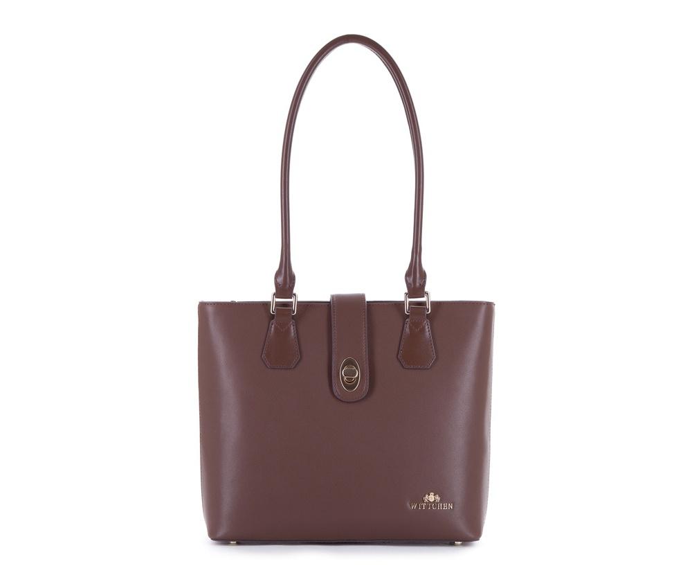 Женская сумка Wittchen 83-4E-410-4, коричневыйЖенская сумка из коллекции Elegance  ОВнутри два кармана на молнии, открытый карман для мелких предметов и отделение для мобильного телефона. С тыльной стороны карман на молнии. Дно сумки  защищено металлическими ножками.<br><br>секс: женщина<br>Цвет: коричневый<br>вмещает формат А4: Вмещает формат А4<br>высота (см):: 26<br>ширина (см):: 29 - 31<br>глубина (см):: 9.5<br>общая высота (см):: 53<br>длина ручки/ек (см):: 68