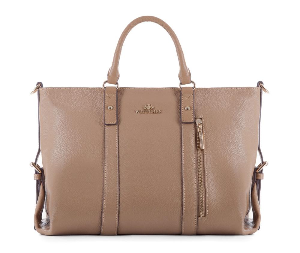 Женская сумкаЖенская сумка из коллекции Elegance&#13;<br>Основной отдел застегивается на молнию. Внутри два отделения на молнии, открытый карман для мелких предметов и отделение для мобильного телефона. Дополнительно прилагается съемный, регулируемый ремень.<br><br>секс: женщина<br>Цвет: бежевый<br>вмещает формат А4: Вмещает формат А4<br>материал:: натуральная кожа<br>длина плечевого ремня (cм):: 105 - 119<br>высота (см):: 26<br>ширина (см):: 34 - 38<br>глубина (см):: 13.5<br>общая высота (см):: 38<br>длина ручки/ек (см):: 34