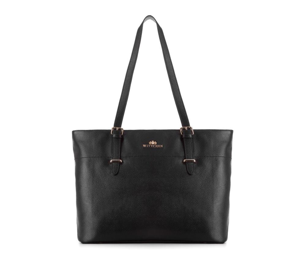 Женская сумкаЖенская сумка из коллекции Elegance&#13;<br>Основной отдел застегивается на молнию. Внутри два кармана на молнии, открытый карман для мелких предметов и отделение для мобильного телефона. Дно сумки защищено металлическими  ножками.<br><br>секс: женщина<br>Цвет: черный<br>вмещает формат А4: Вмещает формат А4<br>материал:: натуральная кожа<br>высота (см):: 28<br>ширина (см):: 35 - 41<br>глубина (см):: 12.5<br>общая высота (см):: 53<br>длина ручки/ек (см):: 60